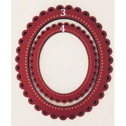 Petit Cadre oval festonné Rouge